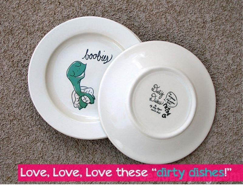I love this fancy china designed by Etsy shop My Only Regret (besides dying).