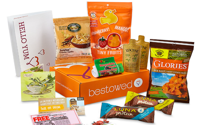 Bestowed sends an assortment of healthy and delicious food, snacks, and beverages — delivered to your door every month. Subscriptions start at $20 per month