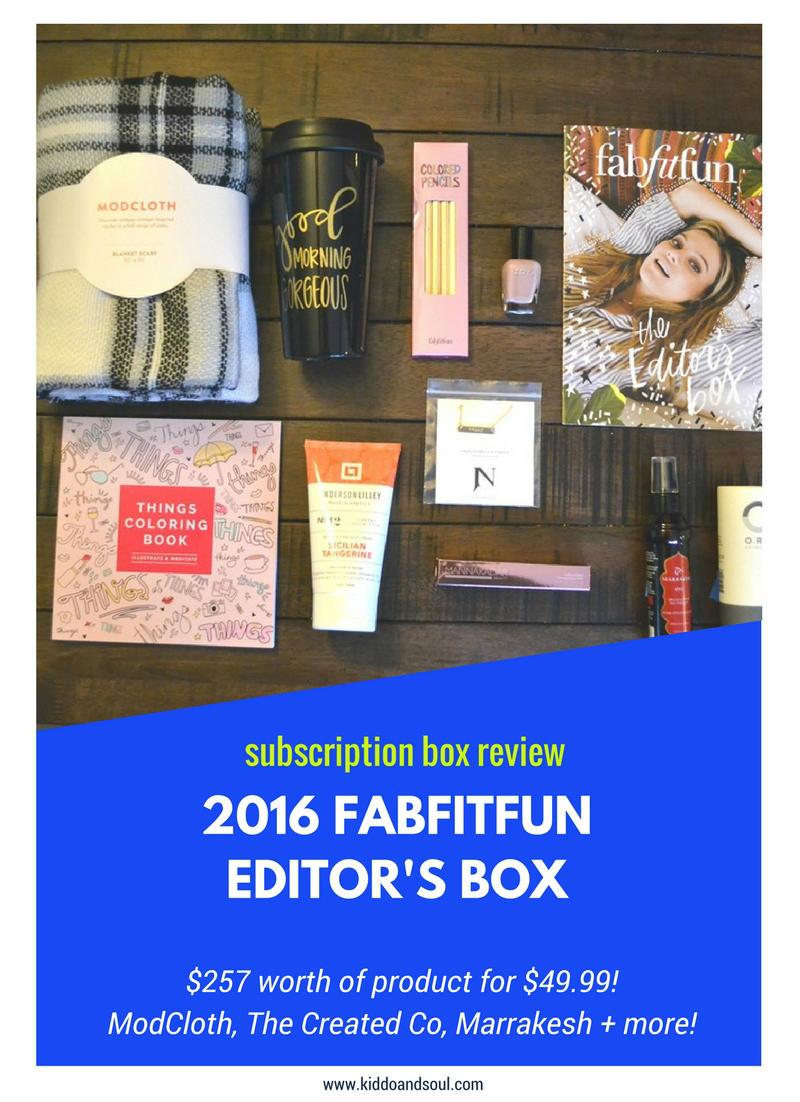 Here's my review of the 2016 FabFitFun Editor's Box!
