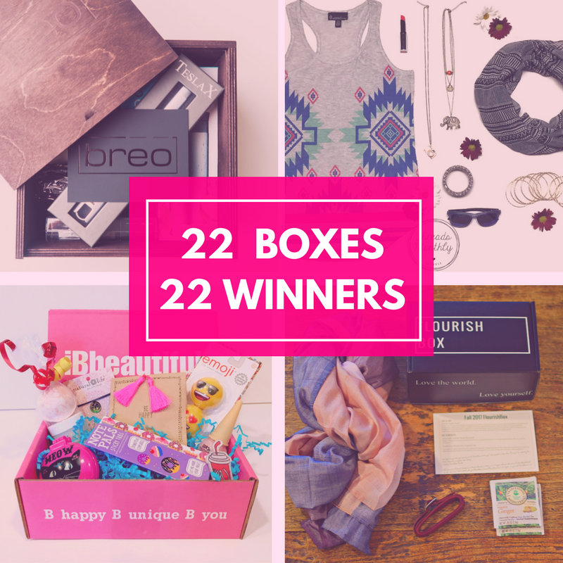 Enter now for your chance to win one of 22 Subscription Boxes!