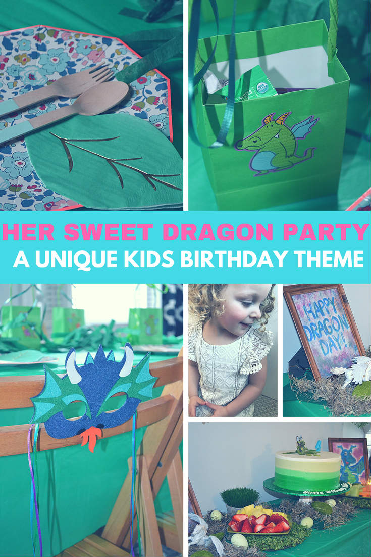 This year our little turned four and she wanted a unique kids birthday theme to celebrate - Dragons.  I'm a sucker for a great kids birthday idea and I love to through a party.  But a dragon birthday party?  I had no clue!  Here's how we turned our home into an enchanted forest with lots of decorations and ideas for your kiddos next birthday.  #kids #kidsbirthday #partyidea #birthday #decor #ideas #dragonparty #partyfood #partyfoodforkids #kidsactivities #activities #dragoncraft #party #decorations  #birthdaytheme #enchantedforest #unicorns #magical #partyplanning #partyplanner