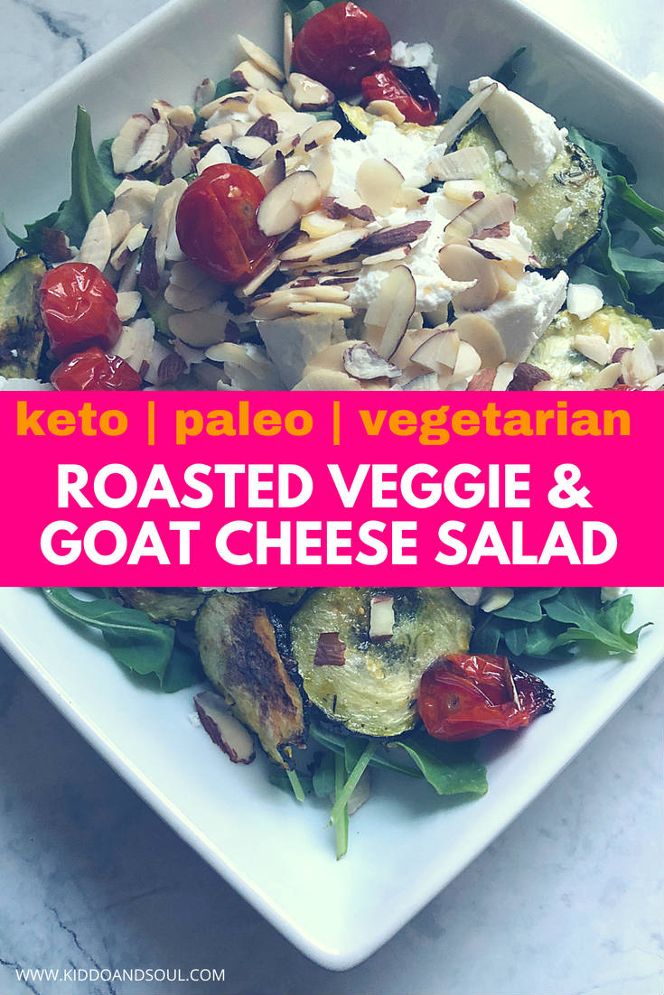 I am so obsessed with this salad recipe right now.  And, you don't even need dressing!  It's filled with healthy greens, oven roasted veggies and its super easy to prep.  This salad is perfect for most diets - keto, paleo, sugar-free, grain-free and vegetarian.  We eat it as a meal and can't stop making it!  #salad #saladrecipe #recipe #summer #greens #roastedveggies #vegetarian #keto #paleo #grainfree #sugarfree #healthy #healthyrecipe #healthysalad #ketosalad #paleosalad #grainfreesalad