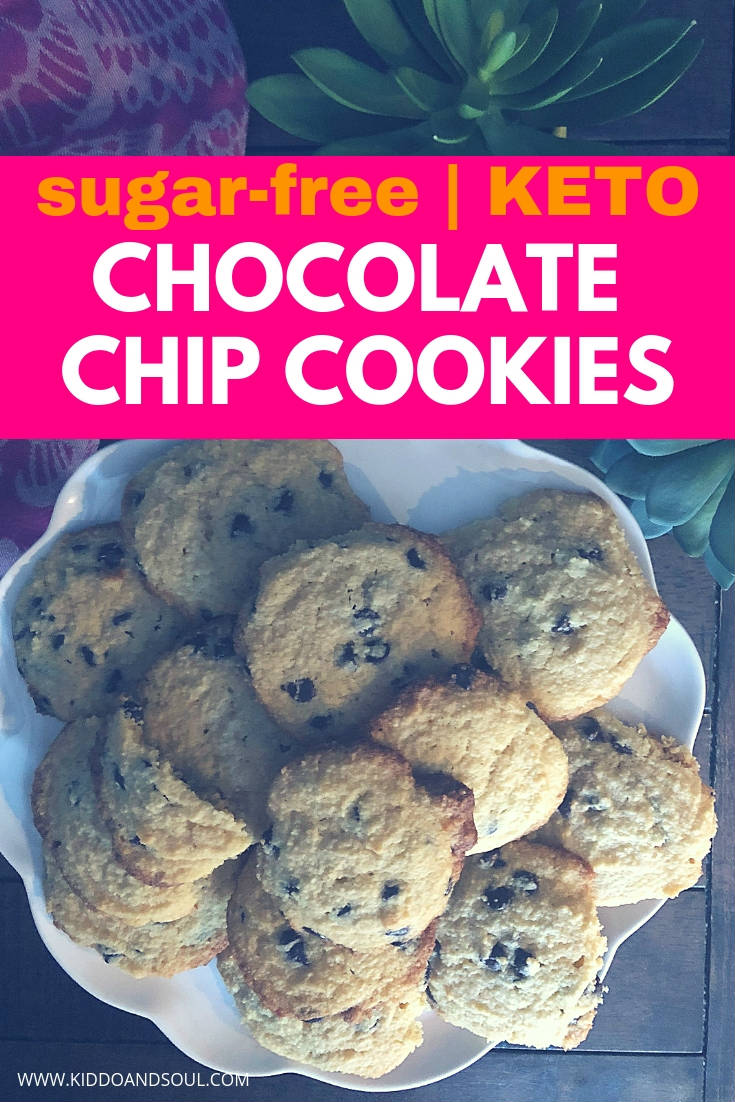 These keto friendly chocolate chip cookies taste JUST like the real thing.  I've worked hard to perfect this recipe and am thrilled with the outcome.  They are super easy to make, chewy and fit most diets (paleo, grain free, and sugar free).  Let me know whatcha' think!  #chocolatechipcookie #chocolatechipcookies #easy #best #homemade #madefromscratch #ketogenic #recipe #ketorecipe #ketodessert #paleo #sugarfree #grainfree #lowcarb #dessert #cookie #cookies #healthy