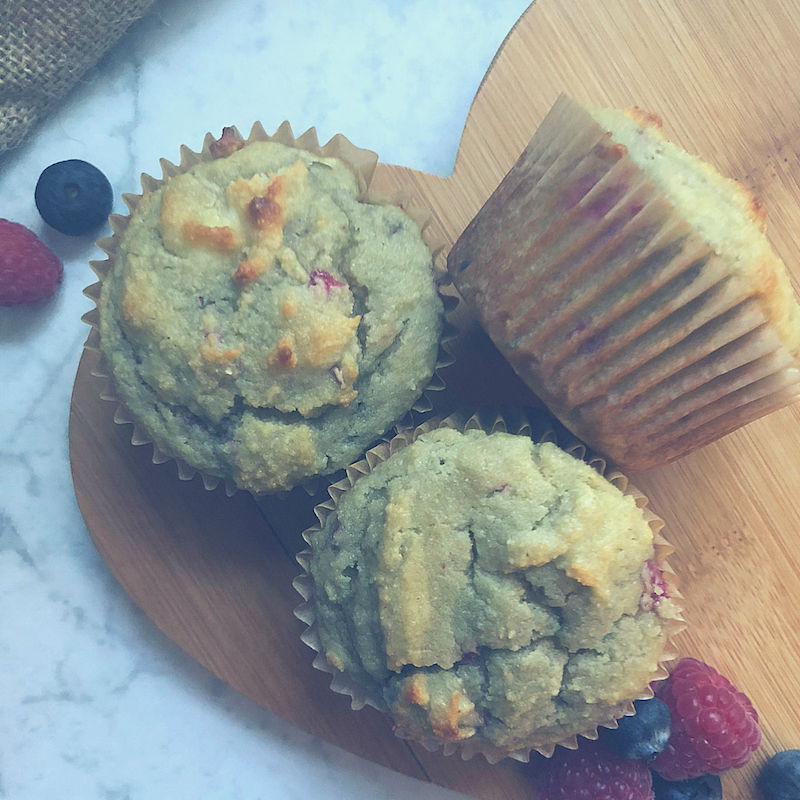 Easy Grain Free Sugar Free Berry Pancake Muffins keto friendly