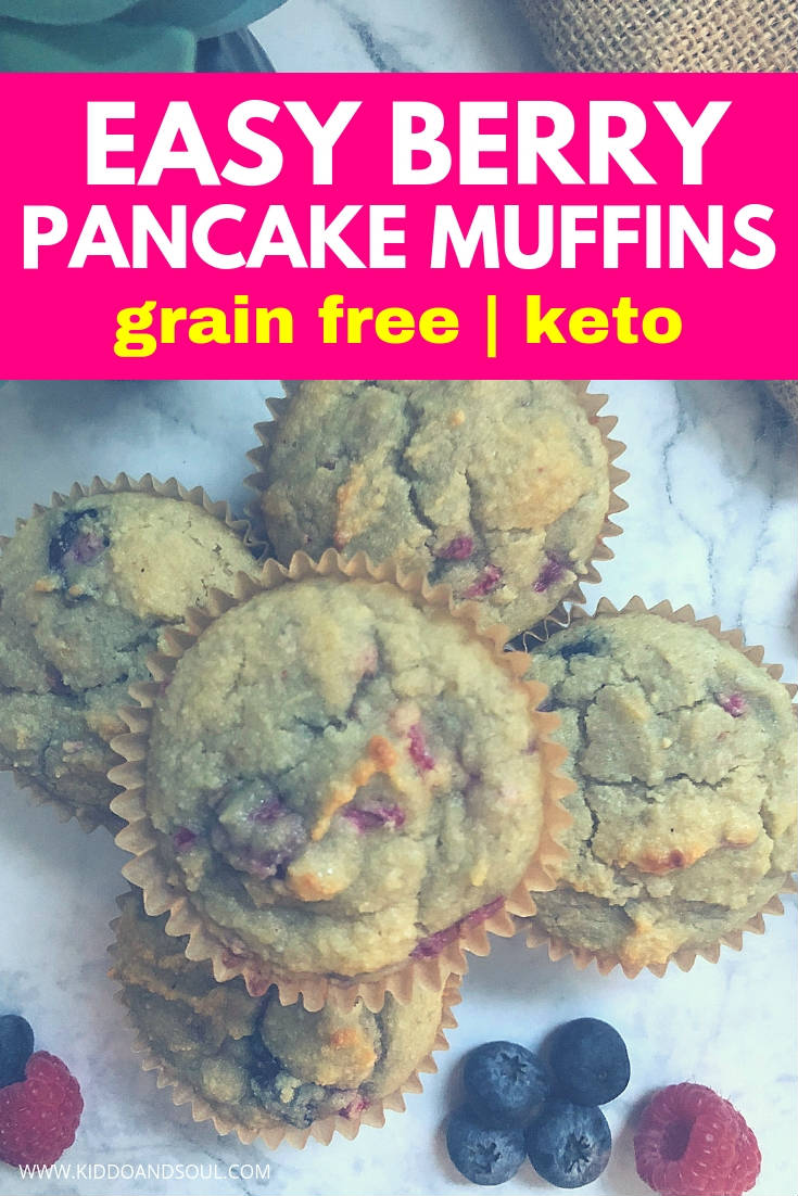 These berry pancake muffins are super easy to make, keto friendly and sans the sugar and grains.  I am super proud of this recipe - They taste delicious and are great for meal prep!  #pancakes #pancakemuffin #mealprep #breakfast #freezer #recipe #healthy #fromscratch #ketofriendly #ketorecipe #ketomealprep #ketogenic #ketodiet #muffin #muffins #grainfree #sugarfree #paleo #breakfastonthego #kidsbreakfast #kids #kidstreat #kidslunch #healthykids #healthy