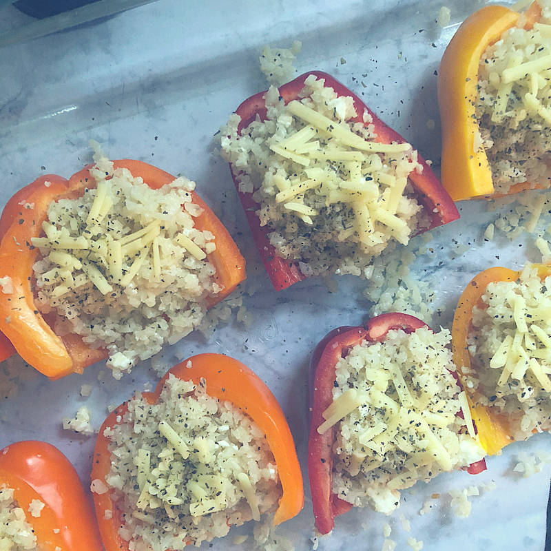 Easy Low Carb Cauliflower Rice Stuffed Peppers Great for Meal Prep