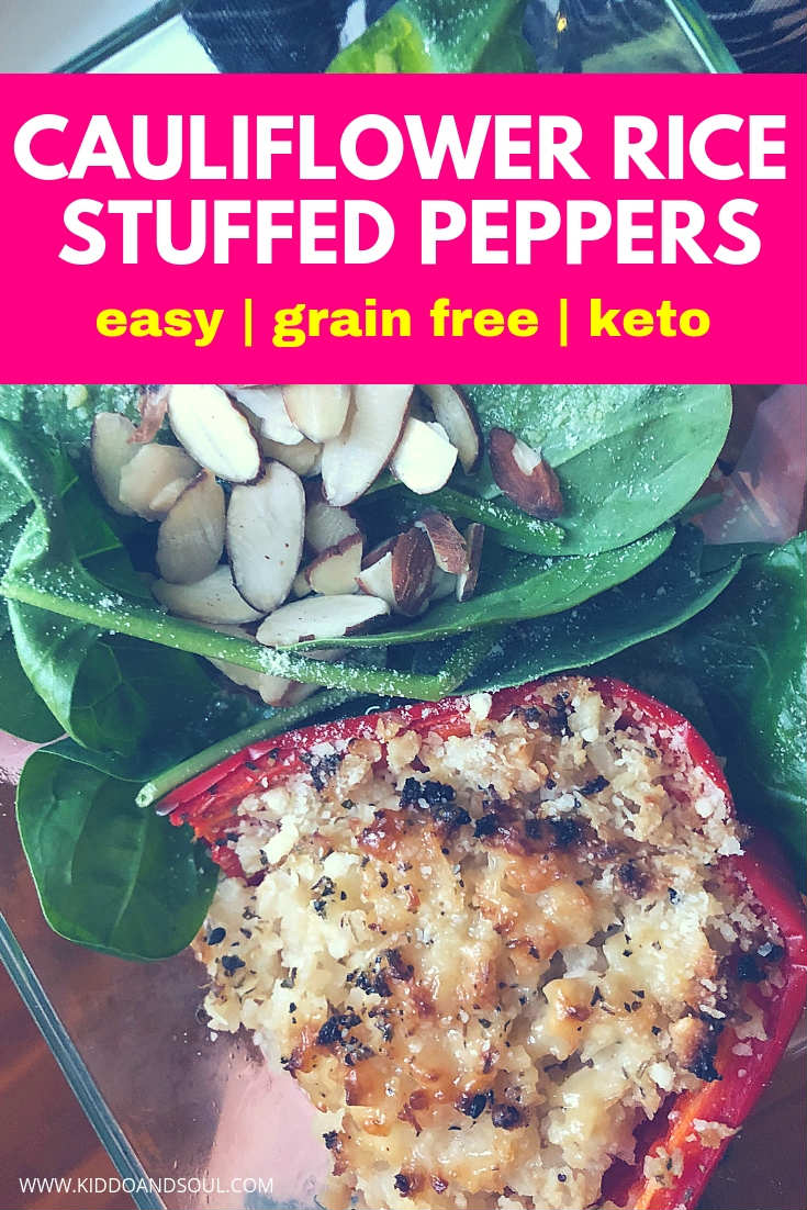 These low carb cauliflower rice stuffed peppers are super easy to make and are awesome if you're meal prepping lunches for the week!   They are grain free, keto friendly and absolutely delicious.