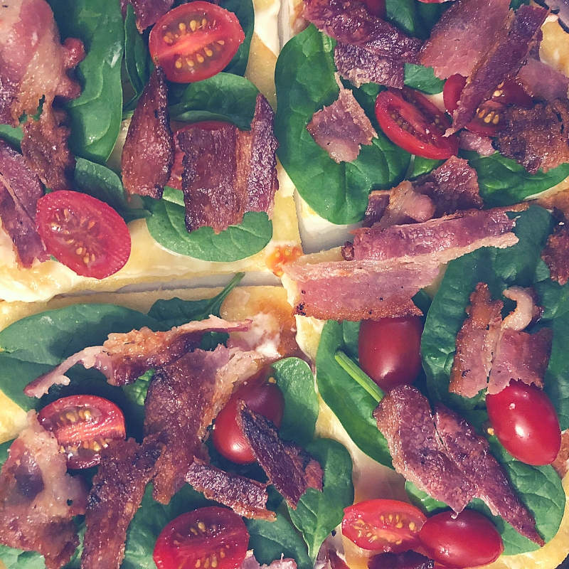 Fathead Dough BLT Pizza (Low carb and keto friendly)