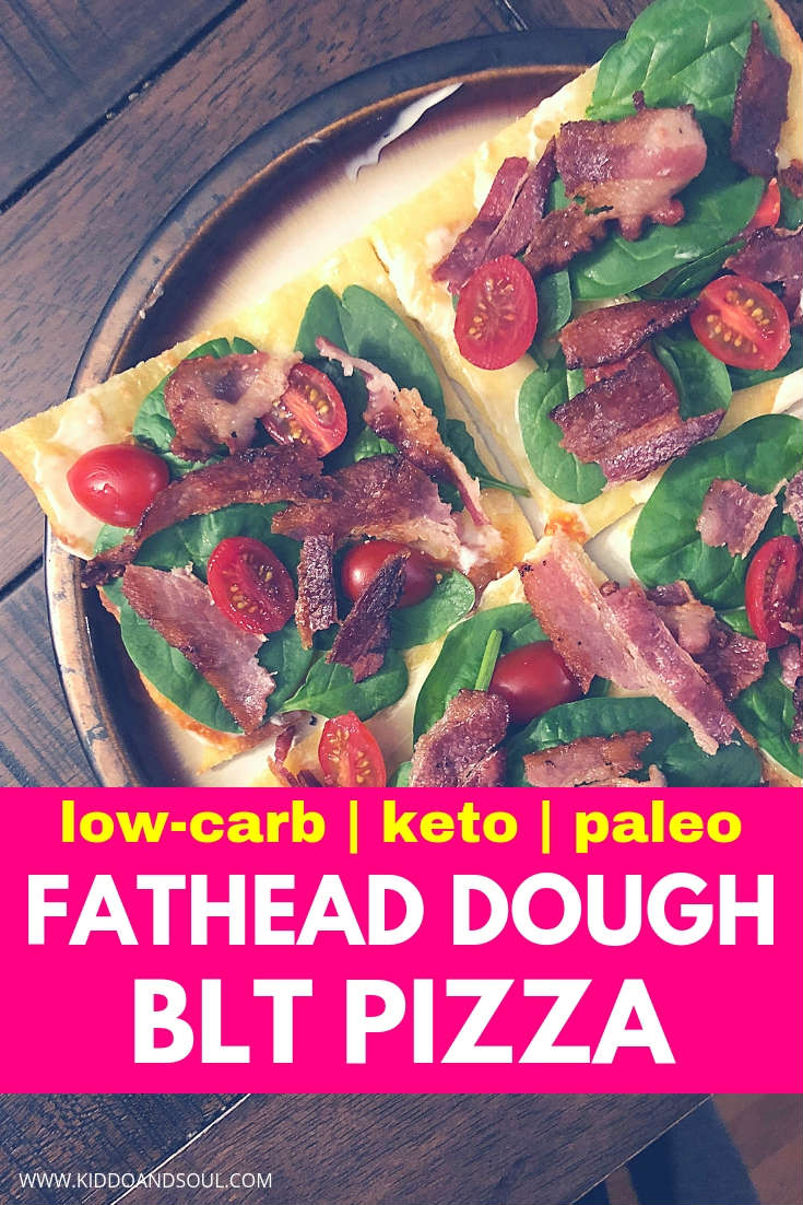 This fathead dough BLT pizza is absolutely delicious, easy to make and totally keto friendly!  Its low carb, filled with protein, healthy fats & veggies.  We make it all the time!