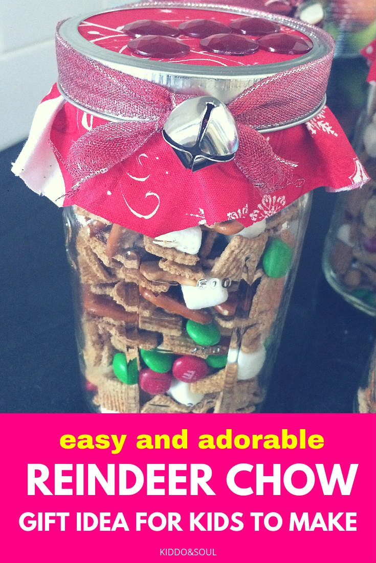 If you're looking for a last minute gift idea for your kiddos to make, this reindeer chow is super easy, super affordable and leaves very little mess behind!  We put the chow in mason jars and decorate them to make them super festive and fun.