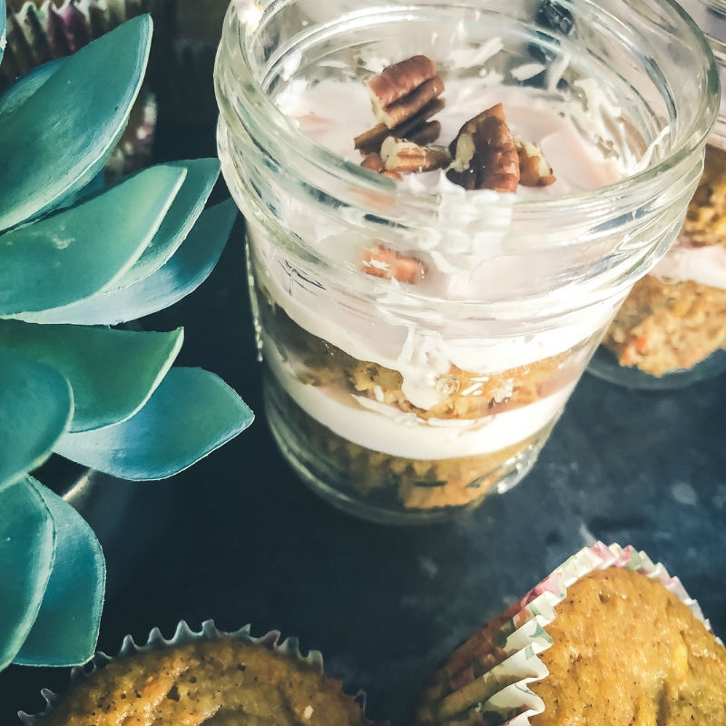 Sugar-Free Carrot Cake Cupcakes in a Jar