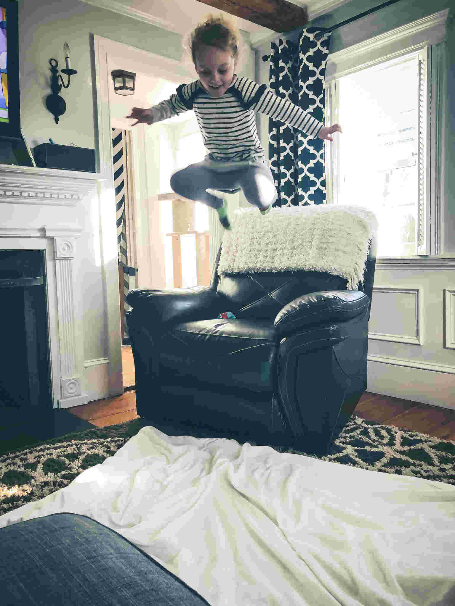 Jumping off the furniture