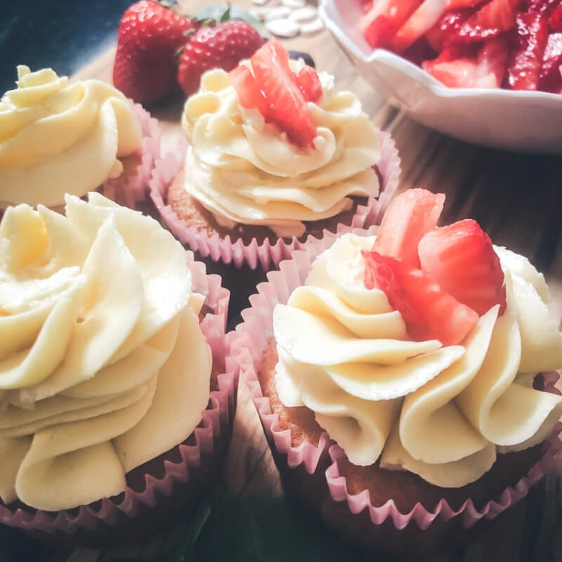 Low Carb Strawberry Shortcake Cupcakes (Sugar-free + Grain-free)
