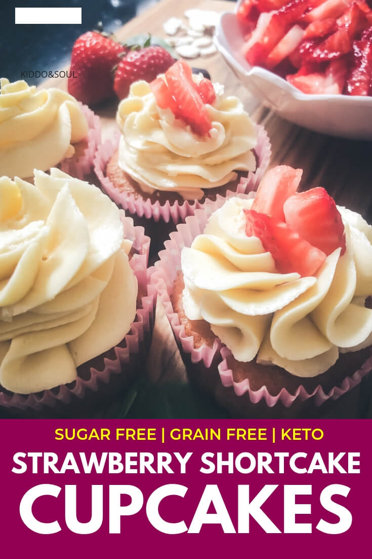 Low Carb Strawberry Shortcake Cupcakes (No sugar or grains!)