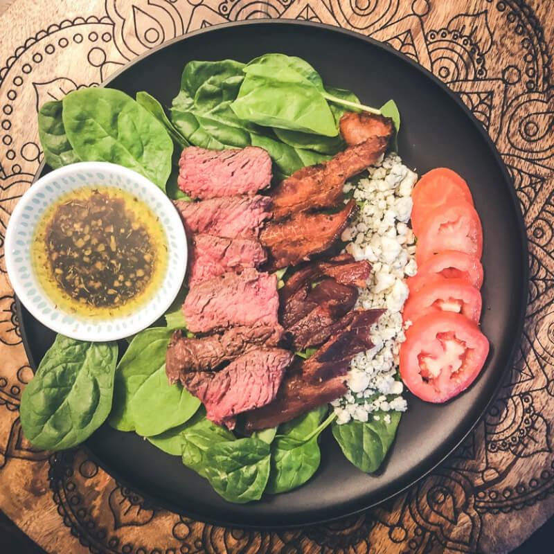 Spinach, Bacon and Blue Cheese Steak Salad with homemade Balsamic Dressing