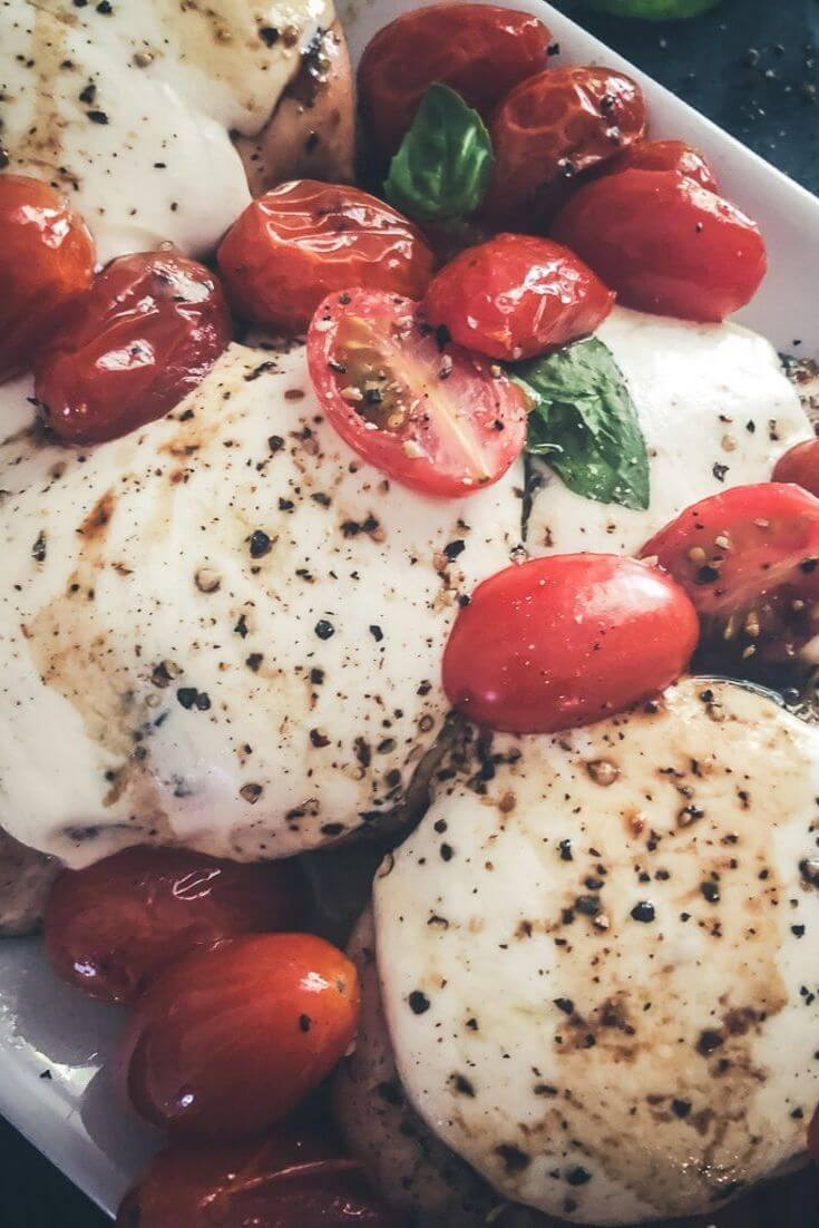 Baked Caprese Chicken with Sugar Free Balsamic Drizzle