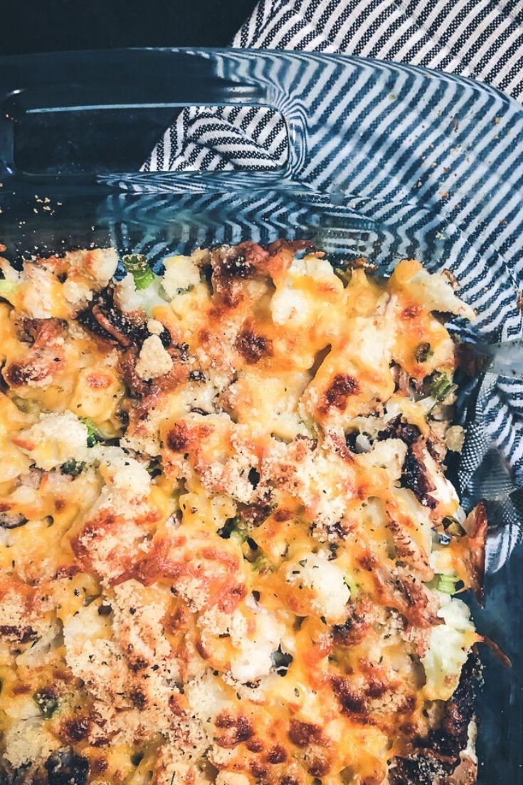 A quick easy dinner rotisserie chicken and cauliflower au gratin